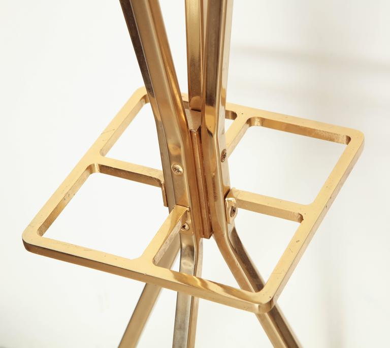 Unusual Brass and Wood Coat Rack/Umbrella Stand, France, circa 1970 7