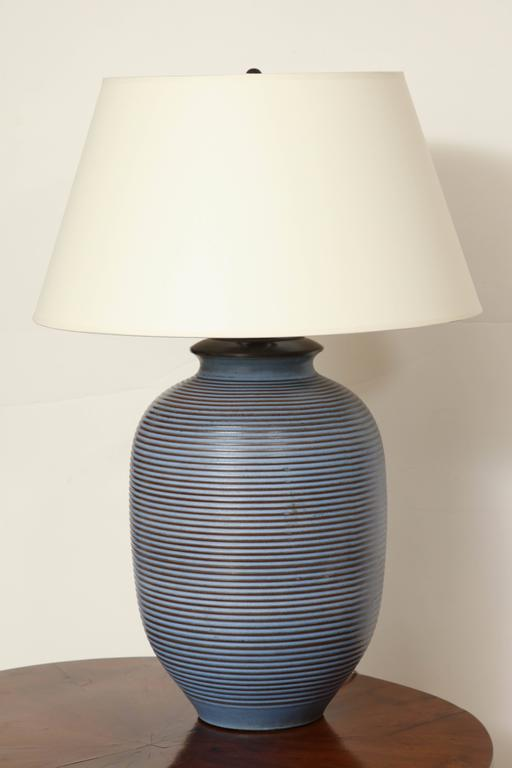 Large Blue And Brown Ceramic Table Lamp With Stripes At