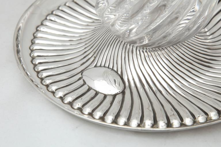 English Rare Very Large Unusual Victorian Sterling Silver-Mounted Inkwell on Stand For Sale