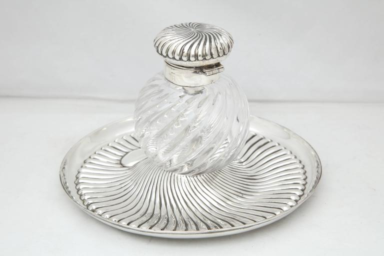 Late 19th Century Rare Very Large Unusual Victorian Sterling Silver-Mounted Inkwell on Stand For Sale
