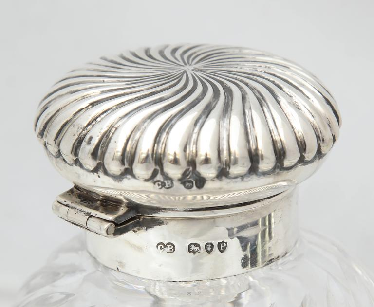 Rare Very Large Unusual Victorian Sterling Silver-Mounted Inkwell on Stand For Sale 1