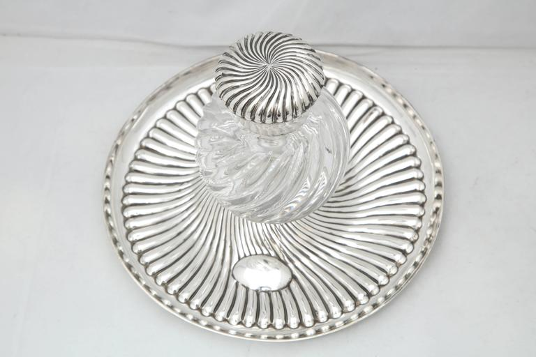 Rare Very Large Unusual Victorian Sterling Silver-Mounted Inkwell on Stand For Sale 2