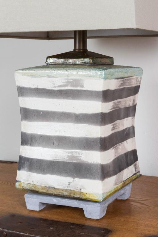 Hand-Crafted Raku Ceramic Lamp For Sale