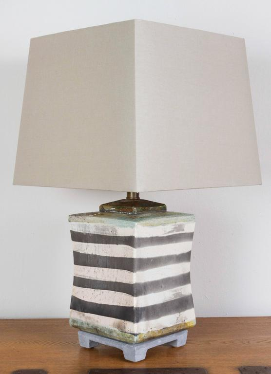 Raku Ceramic Lamp In Good Condition For Sale In Los Angeles, CA
