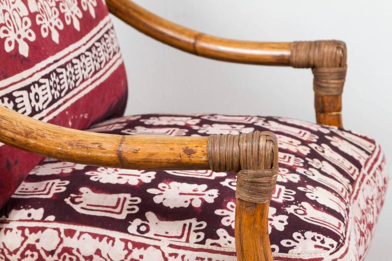 Vintage Rattan Chair With Indian Fabric Cushions At 1stdibs