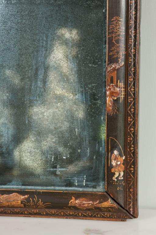 Early 18th Century Rare Queen Anne Wall Mirror of Small Size For Sale
