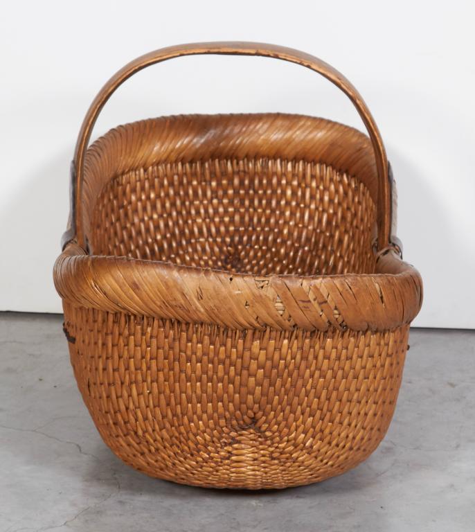 Old Handmade Baskets : Handmade antique willow flower basket for sale at stdibs