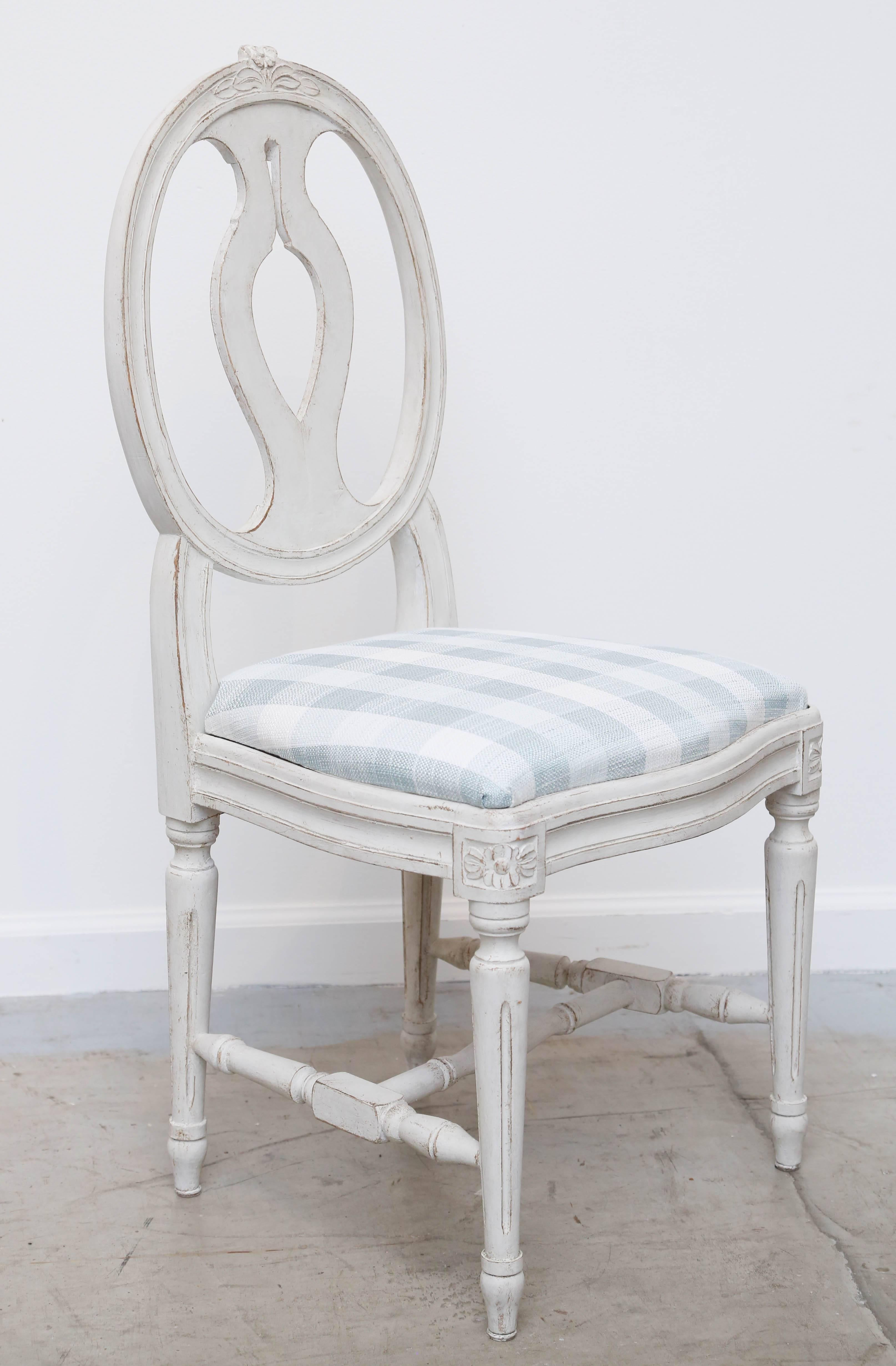 7df307c5d0791 Set of Six Antique Swedish Gustavian Style Painted Dining Chairs at 1stdibs
