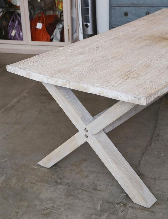 Rustic Antique Farm Table In Bleached Poplar Wood, 19th Century For Sale