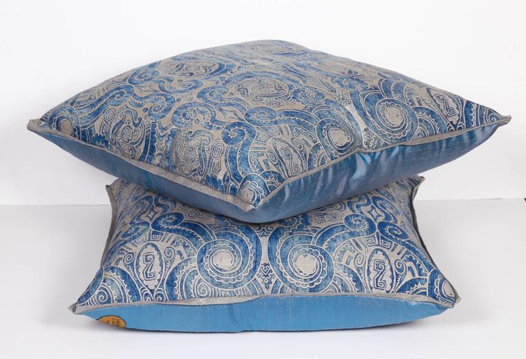A Pair of Fortuny Fabric Cushions in the Peruviano Pattern 2