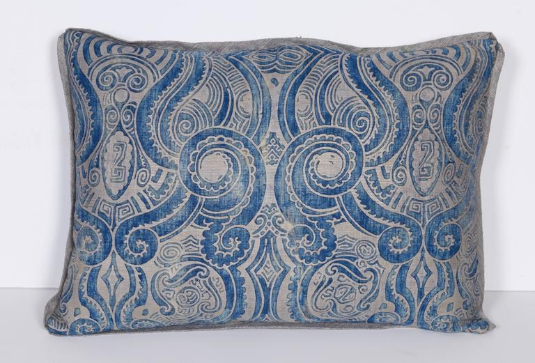 A Pair of Fortuny Fabric Lumbar Cushions in the Peruviano Pattern 2