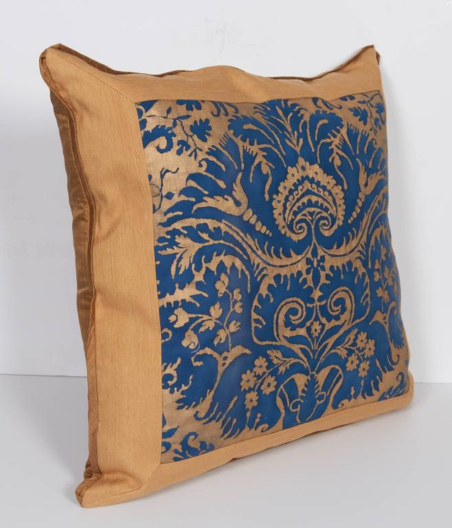 A Mitered Fortuny Fabric Cushion in the DeMedici Pattern 4