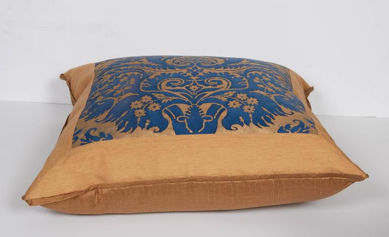 A Mitered Fortuny Fabric Cushion in the DeMedici Pattern 5