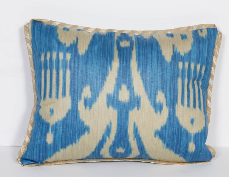 Modern A Newly Made Lumbar Cushion in Vintage Ikat Fabric For Sale