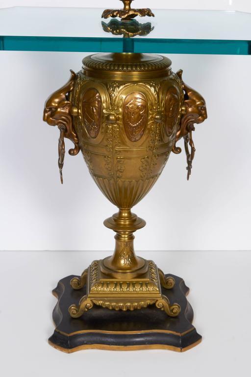 Pair of Renaissance Revival Gilt Bronze Urn Form Tables 2