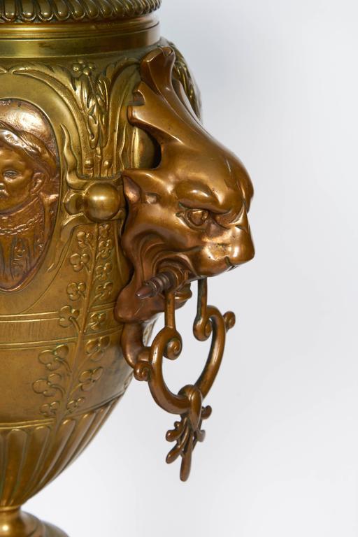 Pair of Renaissance Revival Gilt Bronze Urn Form Tables 5