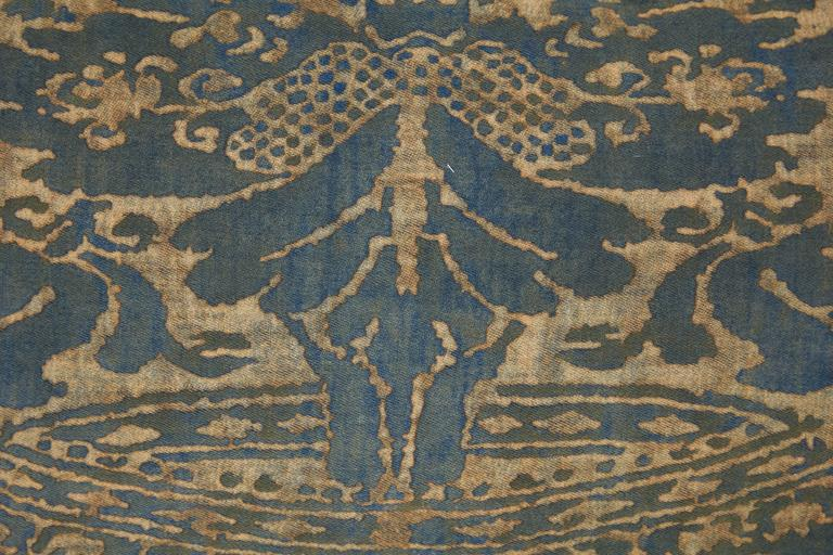 A Fortuny Fabric Lumbar Cushion in the Corone Pattern 2
