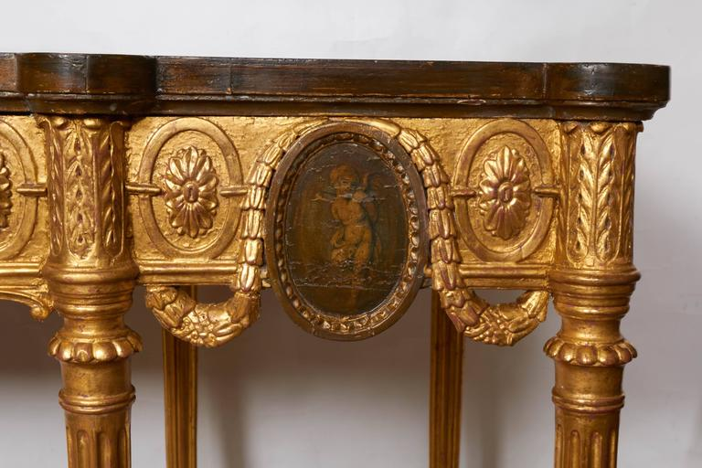 English Neoclassical Style Satinwood and Giltwood Console Table 3