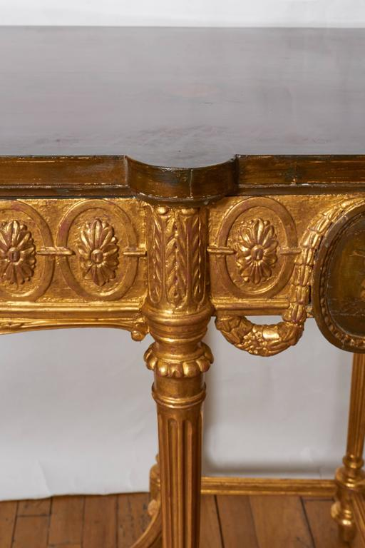 English Neoclassical Style Satinwood and Giltwood Console Table 5