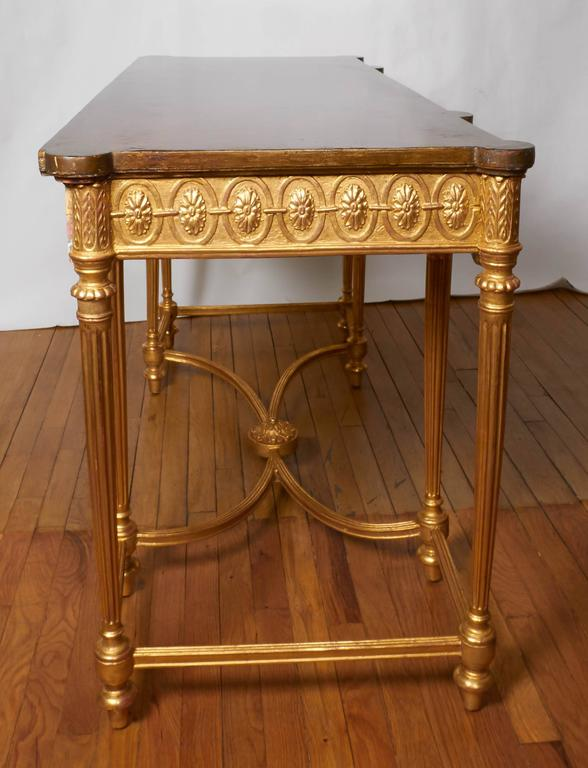 English Neoclassical Style Satinwood and Giltwood Console Table 10