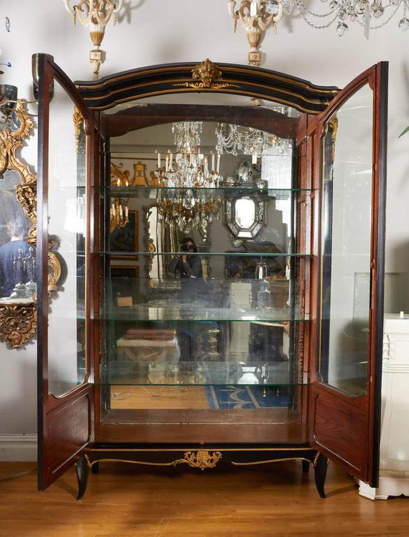 French Louis XV Style Ormolu Mounted Ebonized Two-Door Bibliotheque 2
