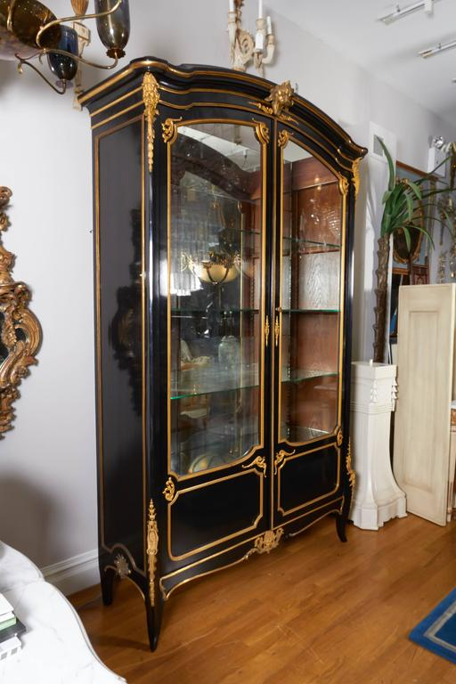 French Louis XV Style Ormolu Mounted Ebonized Two-Door Bibliotheque 5