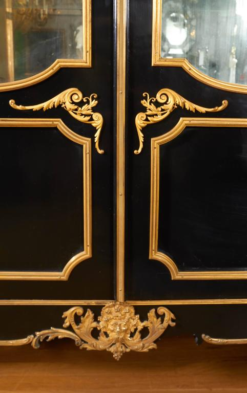 French Louis XV Style Ormolu Mounted Ebonized Two-Door Bibliotheque 6