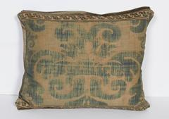 A Single Vintage Fortuny Fabric Cushion in the Tulipano Pattern