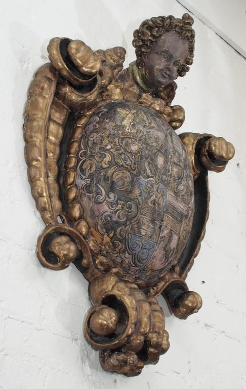 Spanish Putto Mounted Carved Wood Amorial Crest 8
