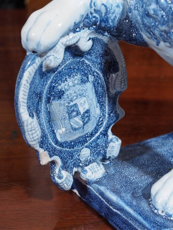 Pair of Blue and White Delft Lions with Shields 5