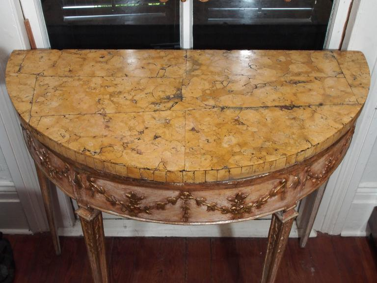 Pair of Italian Louis XVI Parcel Gilt and Painted Demilune Console Tables 2