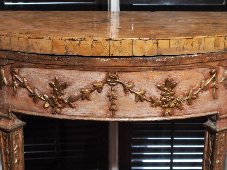 Pair of Italian Louis XVI Parcel Gilt and Painted Demilune Console Tables 3