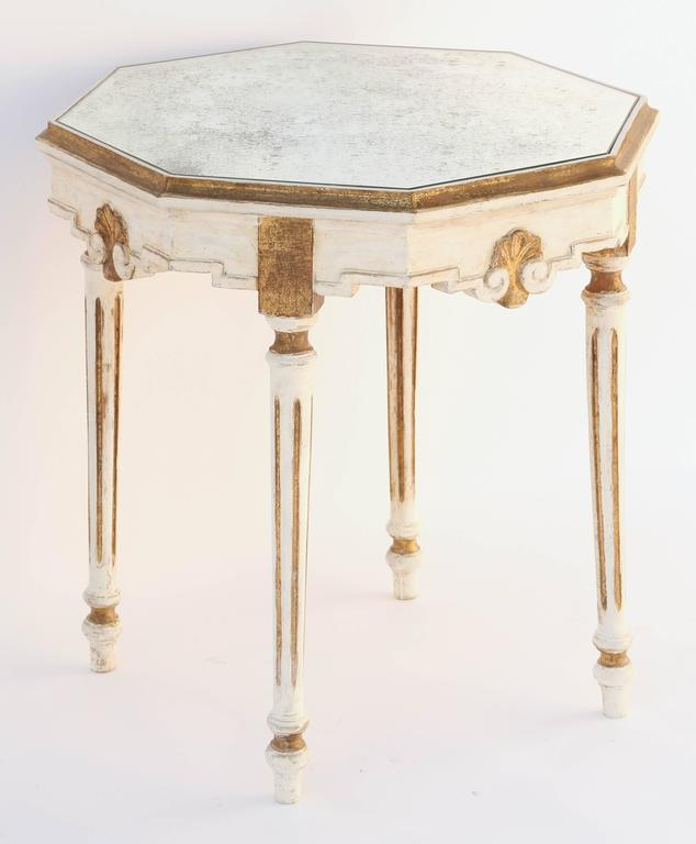 Mirrored Octagon Coffee Table: Painted And Parcel-Gilt Italian Accent Table With