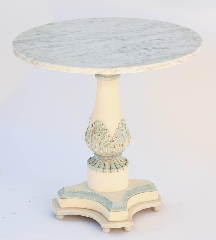 Painted Italian Pedestal Side Table with Carrara Top
