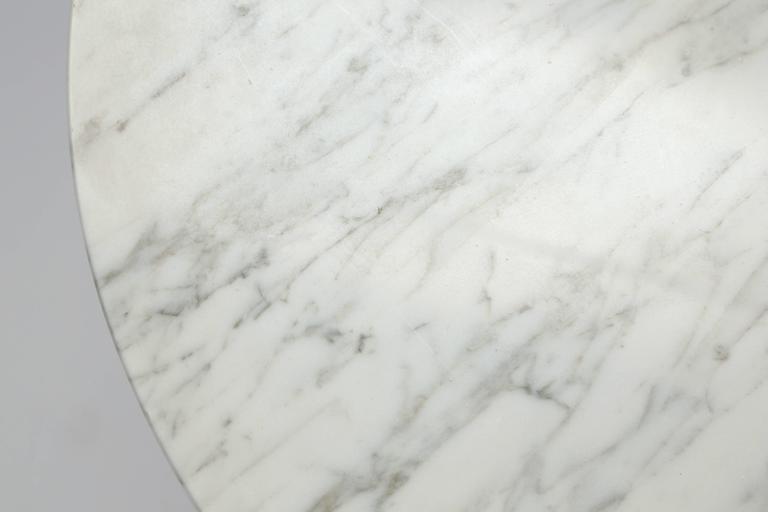 Wood Italian Pedestal Side Table with Carrara Top