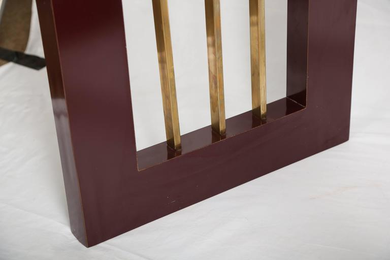 American Burgundy High Gloss Formica and Brass Dining Table or Desk For Sale