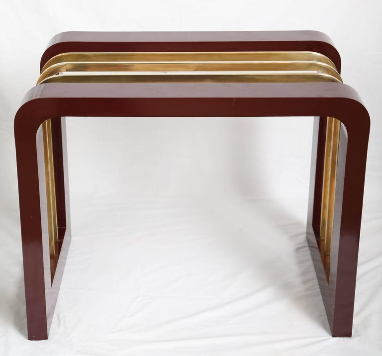 Burgundy High Gloss Formica and Brass Dining Table or Desk In Good Condition For Sale In Miami, FL