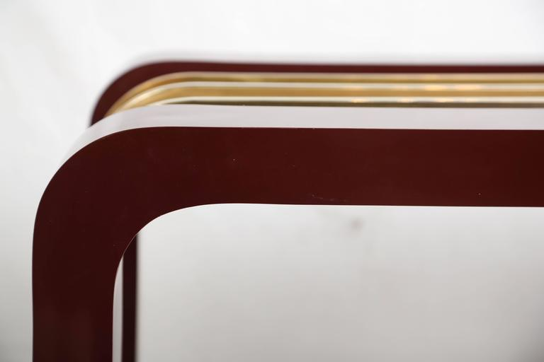 20th Century Burgundy High Gloss Formica and Brass Dining Table or Desk For Sale