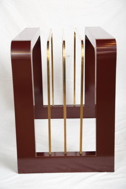 Glass Burgundy High Gloss Formica and Brass Dining Table or Desk For Sale