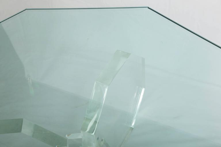 1970s Three Thick Lucite Octagon Shaped Coffee Table with Octagonal Glass 5