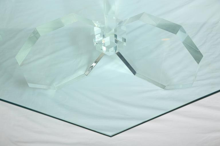1970s Three Thick Lucite Octagon Shaped Coffee Table with Octagonal Glass 6