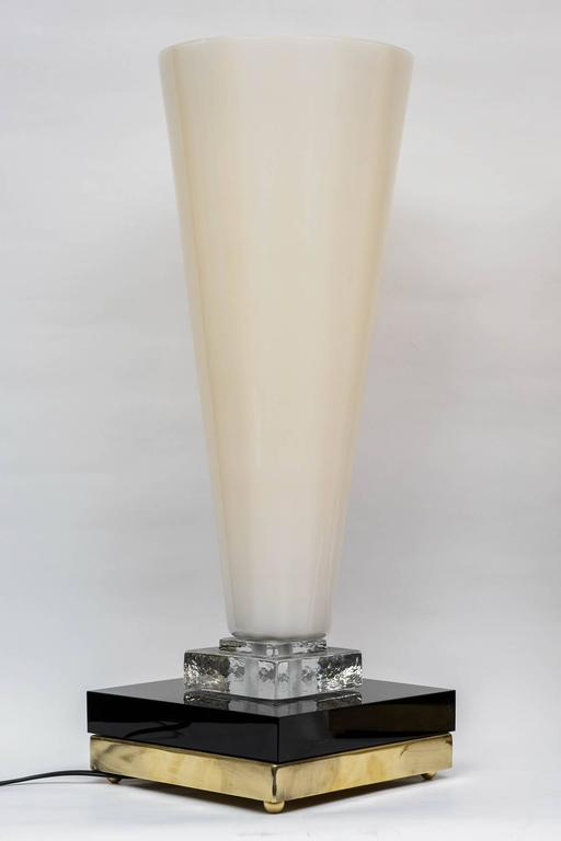 Late 20th Century Pair of Table Lamps in Murano Glass For Sale