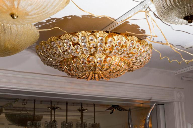Mid-Century Modern Dome Form Gilt Metal Flush Mount Fixture with Inset Crystal Elements For Sale