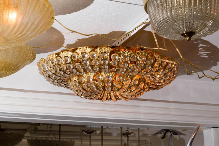 Dome Form Gilt Metal Flush Mount Fixture with Inset Crystal Elements In Excellent Condition For Sale In Bridgehampton, NY