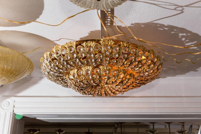 20th Century Dome Form Gilt Metal Flush Mount Fixture with Inset Crystal Elements For Sale
