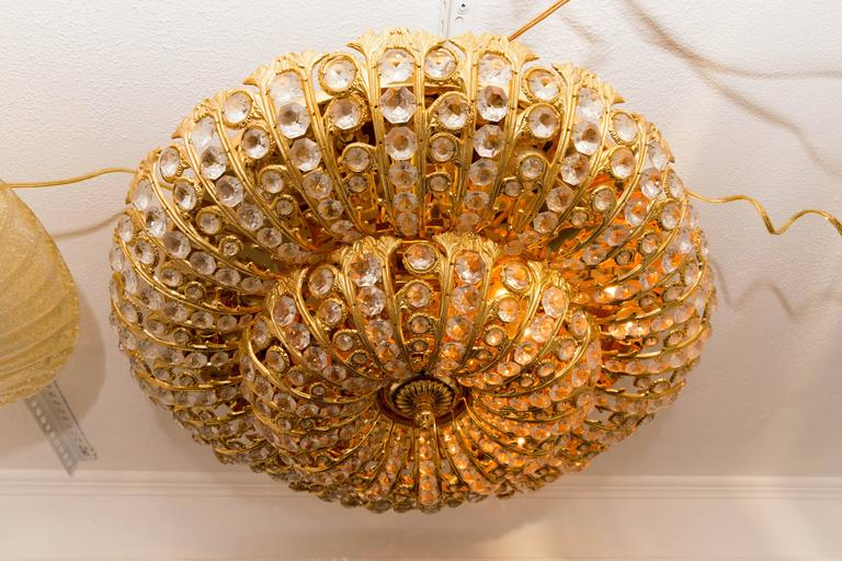 Dome Form Gilt Metal Flush Mount Fixture with Inset Crystal Elements For Sale 2