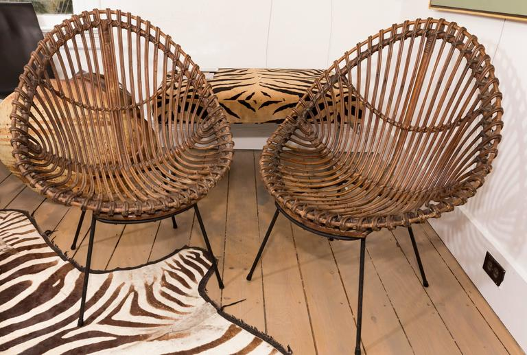 Pair of bamboo chairs in the style of Franco Albini, with black metal bases.