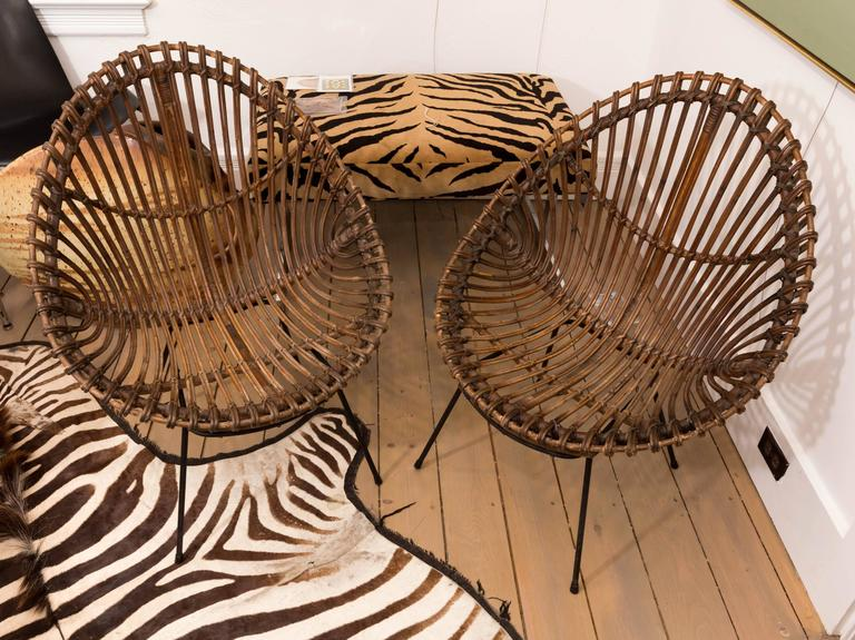 Mid-Century Modern Pair of Bamboo Chairs in the Style of Franco Albini For Sale