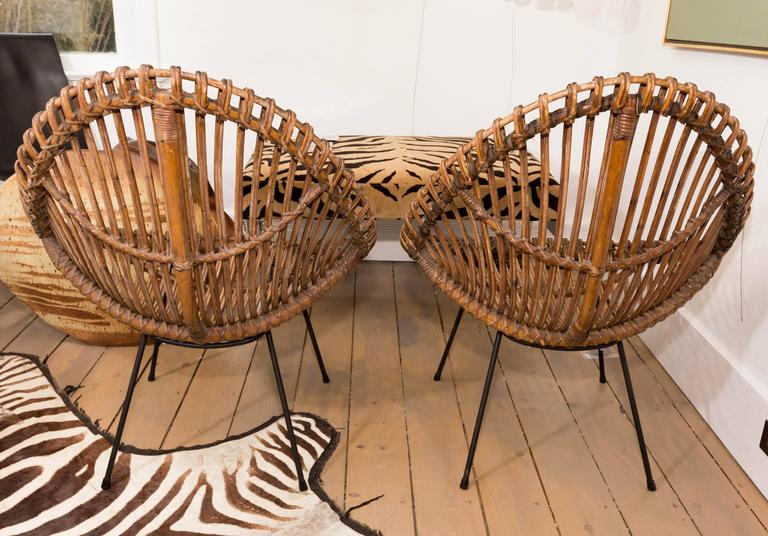 Italian Pair of Bamboo Chairs in the Style of Franco Albini For Sale
