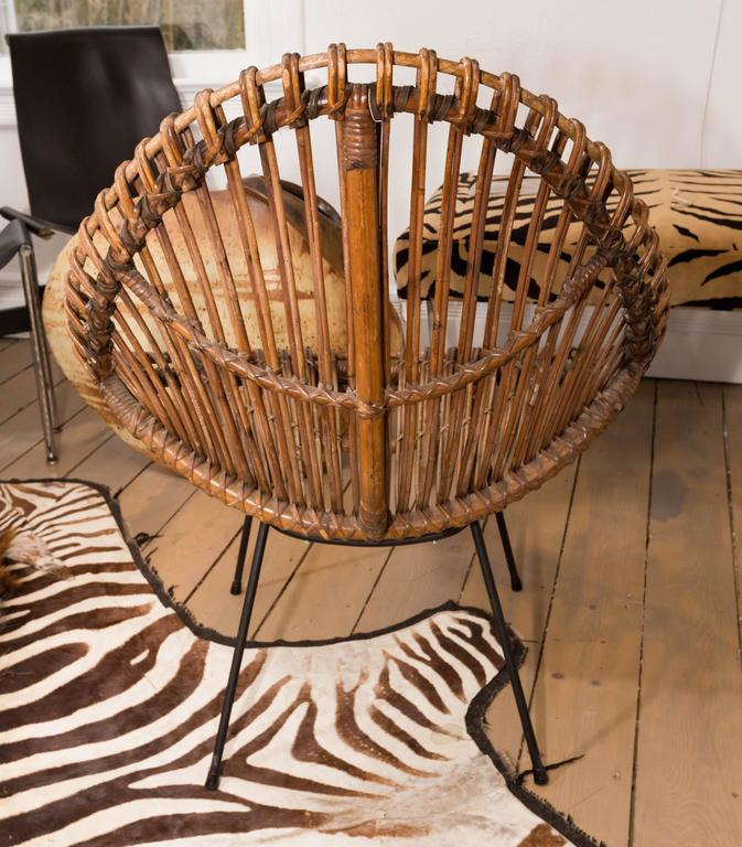 Hand-Woven Pair of Bamboo Chairs in the Style of Franco Albini For Sale
